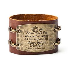 Leather cuffs with quotes from literature. Choose from Tolkein, e.e. cummings or Lewis Carroll. <3