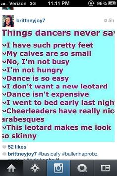 things dancers never say
