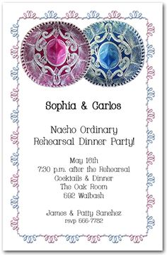 Pink and Blue Sombreros Party Invitations - great wedding rehearsal dinner invitations