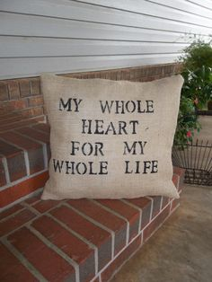 My Whole Heart Throw Pillow Burlap Pillow Wedding by misshettie, $28.00