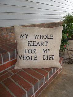 My Whole Heart Throw Pillow Burlap Pillow Wedding by misshettie, $28.00