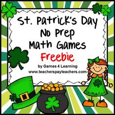 St Patrick's Day Math Games FREEBIE from Games 4 Learning.This set includes 2 print and play St. Patrick's Day math games. These free St. Patrick's Day games are -St. Patrick's Day Pairs and Trios Add to 17St. Patrick's Day Find the Difference Four in a Row Take from 17These can be used in the lead up to St.