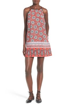 Band of Gypsies Print High Neck Shift Dress