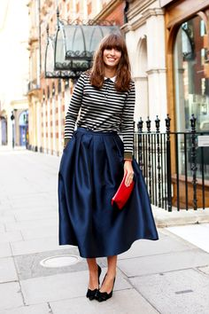 Breton stripe top, Tibi full skirt, patent red clutch and black suede bow pumps