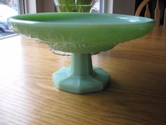 Vintage French Jadeite Compote- Unusual and Unique-Diamond Hobnails and Swirls!