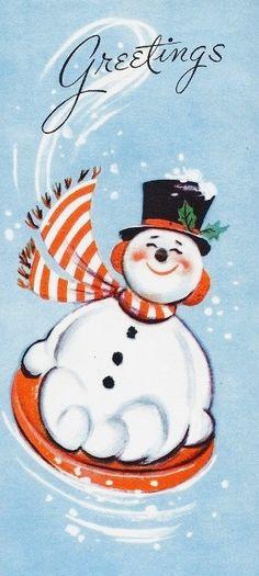 Mid-Century Modern Christmas Card. #greetings Sledding Snowman.