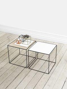 Stolik Twin table- biało, dębowy - by Lassen