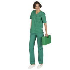 843 conjunto sanitario unisex pico y pantalón con botón en color verde #quirofano #medico #enfermera