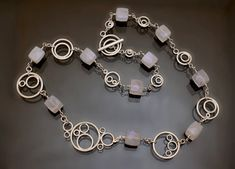 Chalcedony and sterling silver hoop necklace by GothamAtelier