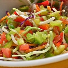 Picnic Marinated Summer Slaw Allrecipes.com.  I used red onion, chopped zuchinni,  peppers,  cider and red wine vinegar, olive/grapeseed oil, and a little stevia.