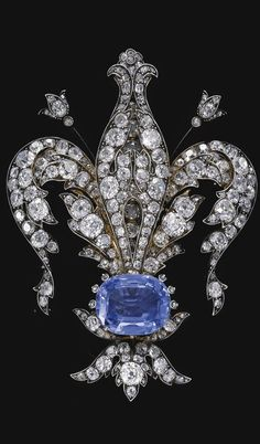 Sapphire and Diamond Brooch. Belonged to Empress Maria Luisa of Bourbon-Parma (1870 - 1899), wife of Ferdinand I of Bulgaria (1861 - 1948)., from Iryna