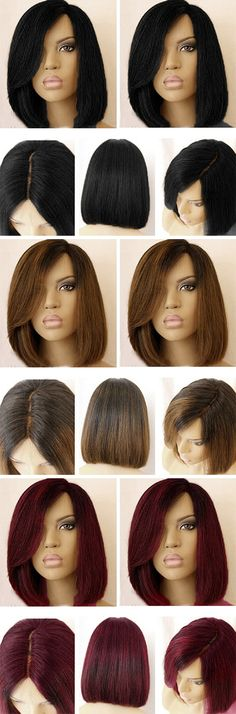 Short Side Part Dark Root Straight Bob Colormix Synthetic Wig