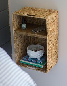 DIY floating basket bedside shelf & phone charging station