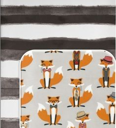 Dapper Foxes in Grey- Crib Sheet or Changing Pad Cover