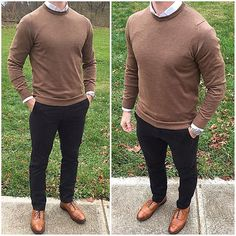 Black and Tan Part 2 ⚫️ I flipped my black and tan outfit from a few weeks ago and went with this tan @nonationality07 sweater and black chinos❗️  Do you like this look❓ Shoes: @allenedmonds Watch: @crownandcaliber Sweater: @nonationality07 Shirt: @tailor4less Chinos: @jcrewmens