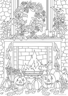 Halloween Decor - Printable Adult Coloring Page from Favoreads (Coloring book pages for adults and kids, Coloring sheets, Coloring designs) Fall Coloring Sheets, Free Halloween Coloring Pages, Witch Coloring Pages, Pumpkin Coloring Pages, Printable Adult Coloring Pages, Coloring For Kids, Coloring Books, Pictures For Colouring, Garden Coloring Pages