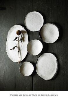 Platters and bowls in white by Elephant Ceramics