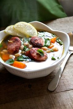 Try this delicious white bean soup with spinach, sweet potatoes and turkey sausage.