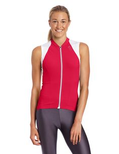GORE BIKE WEAR Women's Xenon 2.0 Singlet, Jazzy Pink/White, X-Large. Full length zip with semi-lock slider. Highly functional material mix. 3-compartment back pocket, slightly tapered on side for easy access. Zip pocket on back. Zip-underflap and zip-port.
