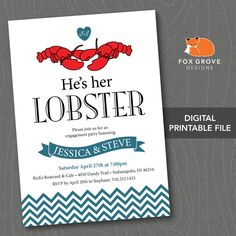 """Engagement Party Invitation """"He's Her Lobster"""" / """"Friends"""" / Customizable Printable Digital File (5x7) / Printing Services Available in U.S.. $15.00, via Etsy."""
