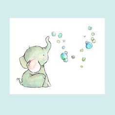 Elephant Bubbles 8x10 -- Art Print. $20.00, via Etsy.