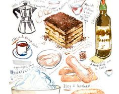 Italienisches Tiramisu Rezept drucken, Wasserfarbe drucken, Painting print, italienische Kunst, Kaffee Kunst, italienische Küche, Italien Poster, Küche Wandkunst