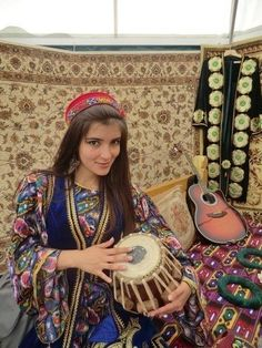 Pamiri Girl from Tajikistan in her traditional Dress.