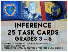 25 INFERENCE TASK CARDS - Use for literacy centers, test prep or bell ringers - Fulfills common core standards R.L.1 - Perfect for differentiated materials #inference #taskcards #teachlikeachampion #readingstrategies #noprep #tpt