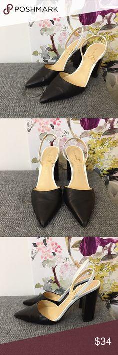 Ivanka Trump White & Black Pointed Toe Block Heels
