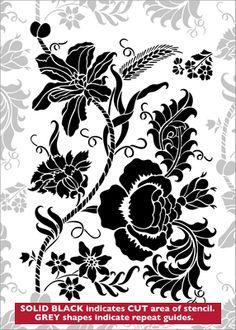 Chintz No 3 stencil from The Stencil Library CHINOISERIE range. Buy stencils online. Stencil code CH38.