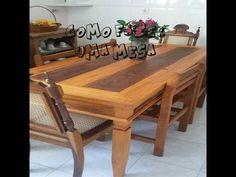 Como fazer  uma mesa com gaveta de madeira de demolição