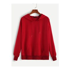 SheIn(sheinside) Red Hooded Drawstring Sweatshirt ($10) ❤ liked on Polyvore featuring tops, hoodies, sweatshirts, red, red pullover hoodie, red hoodies, pullover sweatshirt, red top and long sleeve hoodie