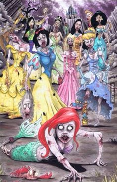 Disney princess zombies....kind of creepy but Awesome! how great would it be if all the girls dressed up like this for Halloween.