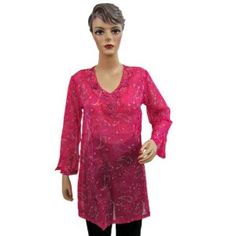 Womens Designer Kurti Pink Blue Printed Full Sleeves Tunic Top Small Size (Apparel)  http://www.picter.org/?p=B007LI5V4O
