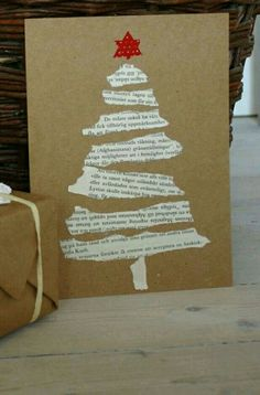 Easy Christmas card from book pages.