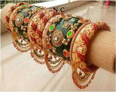Kundan Bangles, Bridal Bangles, Indian Makeup Artist, Rajputi Jewellery, Bridal Chura, Vintage Wedding Jewelry, Rajputi Dress, Affordable Dresses, Fabric Jewelry