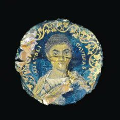 medaillon with portrait 300 ac roman empire glass