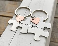 custom puzzle piece key chains his and hers you complete me gift for him gift for her jewelry. CMKreations on Etsy Sister Gifts, Gifts For Friends, Gifts For Him, Cute Gifts, Diy Gifts, Cute Anniversary Gifts, Hand Gestempelt, You Complete Me, Puzzle Pieces