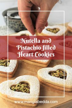 A sweet, decadent treat for Valentine's Day! #heartcookies #nutellafilledcookies