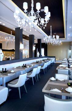 Restaurant at the Pelagos Suites Hotel, Kos island, Greece designed by Skordas Design Studio Greece Design, Restaurant Lounge, Photo Galleries, Island, Studio, Interior, Table, Furniture, Home Decor
