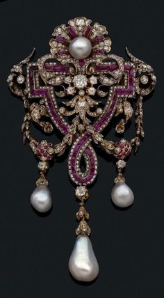 An antique gold, pearl, ruby and diamond brooch, by Charles Martial Bernard, circa 1865. #antique #brooch