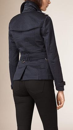 Navy Off-centre Fastening Quilted Jacket - Image 3