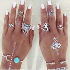 8pcs/set Bohemian Elephants Ring Set Turkish