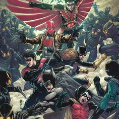 Batman, Robin, Nightwing, Red Hood, and Batgirl by Garrie Gastonny *