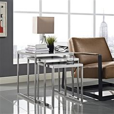 Rail Stainless Steel Nesting Tables by Modway