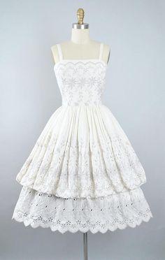 Vintage 50s Greta Plattry Dress / 1950s Cotton Sundress Ivory