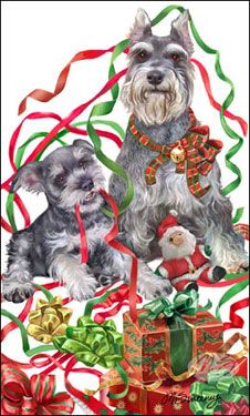 """Schnauzer Christmas cards are 8 1/2"""" x 5 1/2"""" and come in packages of 12 cards. One design per package. All designs include envelopes, your personal message, and choice of greeting. Select the greeting of your choice from the drop-down menu above. Add your personal message to the Comments box during checkout."""