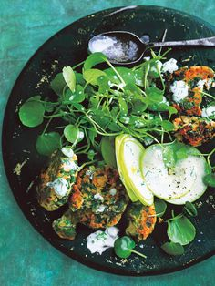 Couscous Watercress And Salmon Cakes With Watercress And Apple Salad   Donna Hay