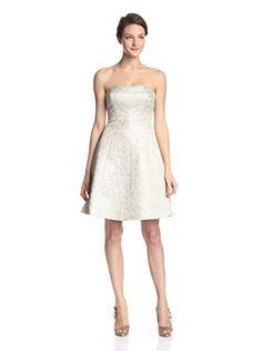 ML Monique Lhuillier Women's Strapless Cocktail Dress (Pearl)