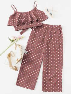Shop Polka Dot Flounce Cami Top & Culotte Pants Co-Ord online. SHEIN offers Polka Dot Flounce Cami Top & Culotte Pants Co-Ord & more to fit your fashionable needs. Indian Fashion Dresses, Girls Fashion Clothes, Teen Fashion Outfits, Girly Outfits, Pretty Outfits, Kids Dress Wear, Dresses Kids Girl, Kids Outfits Girls, Teenager Outfits